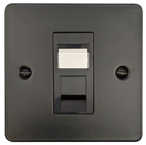 G&H FFB61B Flat Plate Matt Black 1 Gang RJ45 Cat5e Data Socket